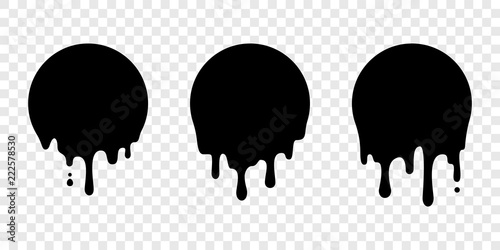 Slika na platnu Paint drip sticker circle label vector liquid drop