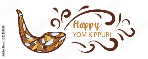 Canvas Print Vector illustration of Happy Yom Kippur background with shofar