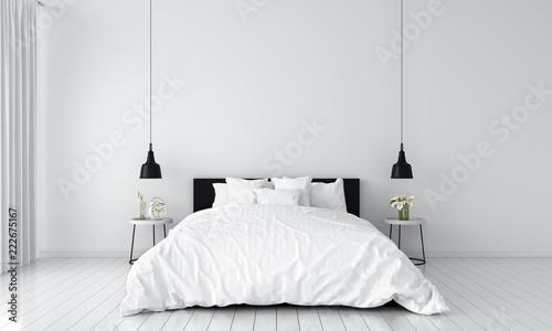 Vászonkép white bedroom interior for mockup, 3D rendering