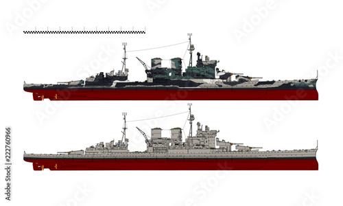Cuadros en Lienzo Battlecruiser of the Royal Navy. HMS Renown. Illustration.