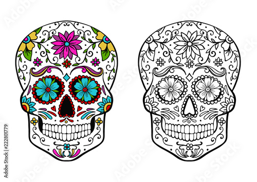 Fototapeta sugar skull coloring page, and an example of coloring