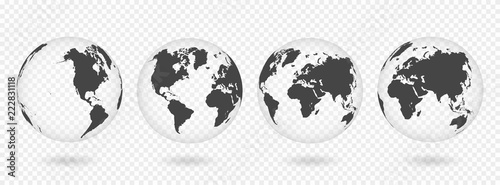Set of transparent globes of Earth. Realistic world map in globe shape with transparent texture and shadow #222831118