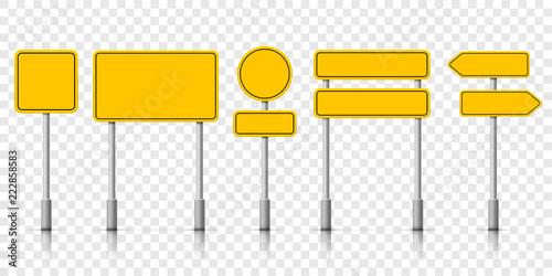 Wallpaper Mural Yellow street road sign boards. Vector roadsign alert notice