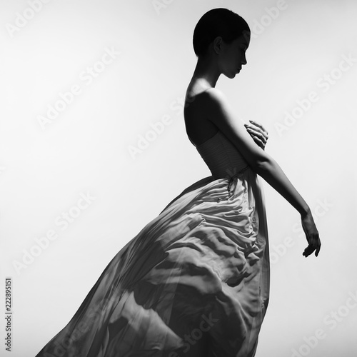 Fotografiet Graceful woman in long evening dress