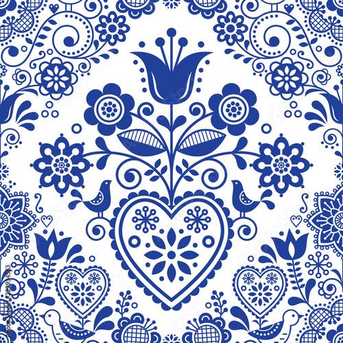 Fototapeta Seamless folk art vector pattern with birds and flowers, Scandinavian or Nordic