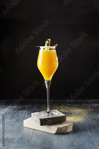 Obraz na plátne Macro Photo of Classic Bellini Cocktail