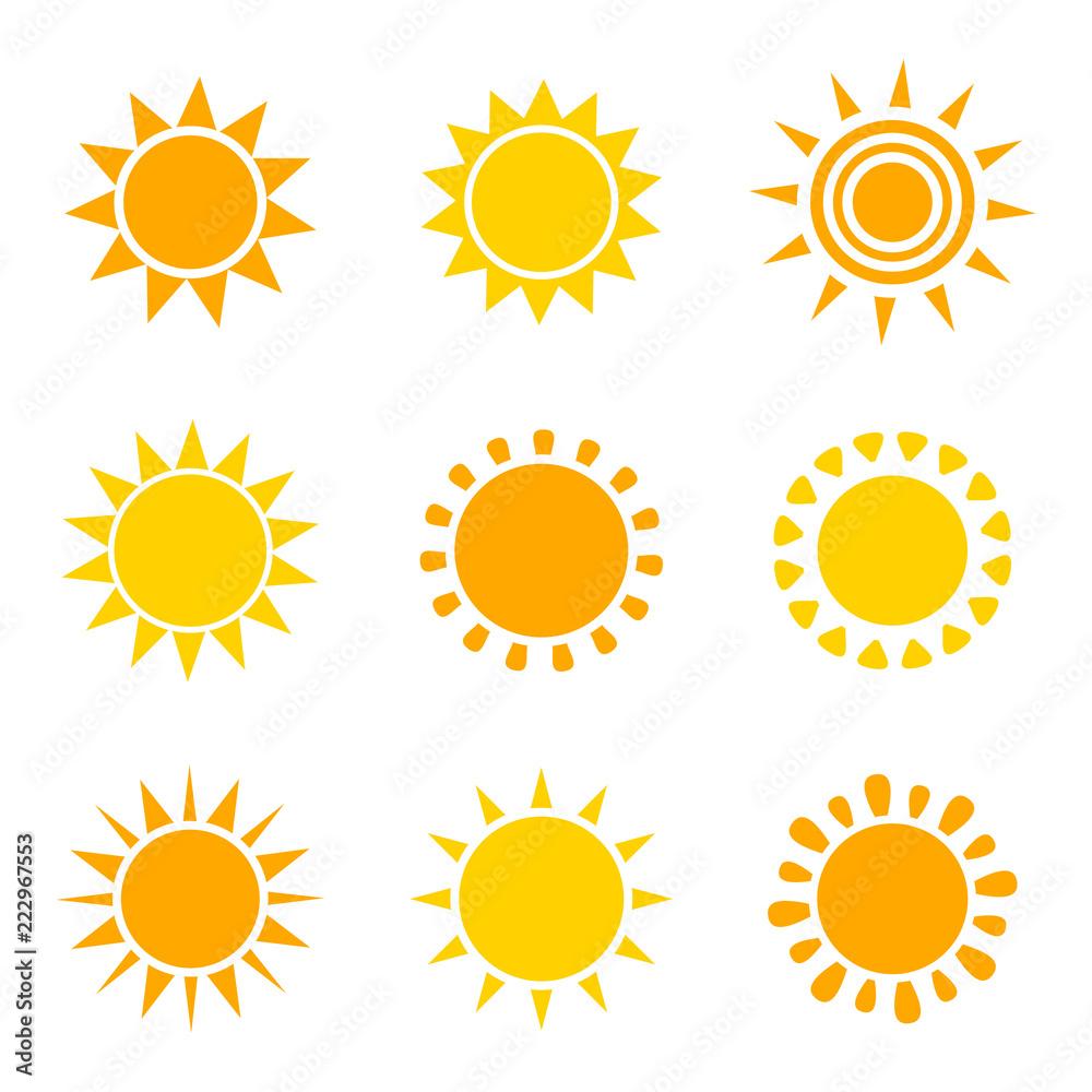Zestaw ikon słońce pomarańczowy i żółty <span>plik: #222967553 | autor: Studio Barcelona</span>