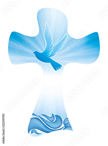 Carta da parati Christian cross baptism symbol with dove and waves of water on blue background