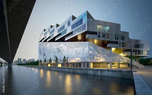 Stampa su Tela 3d render building exterior at night