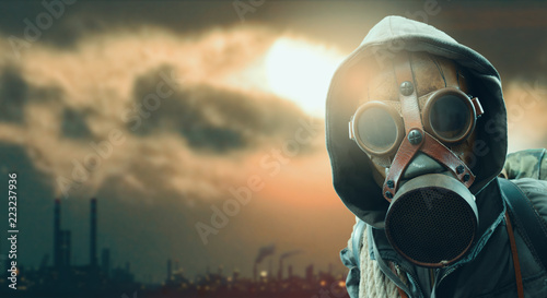 Canvas Print Environmental disaster and post apocalyptic survivor