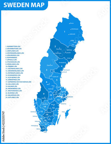 Wallpaper Mural The detailed map of Sweden with regions or states and cities, capital