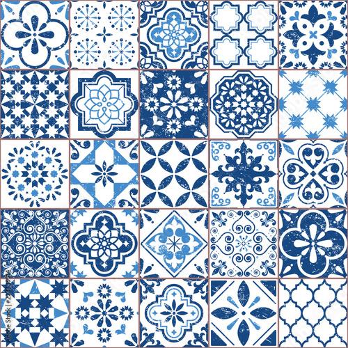Fotografie, Obraz Vector Azulejo tile pattern, Portuguese or Spanish retro old tiles mosaic, Medit
