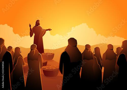 Jesus feeds the five thousand Fototapeta