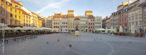 Stare Miasto w Warszawie, Syrenka Warszawska, Panoramo, świt, kamienice, Zamek Królewski, Koluna Zygmunta  #223511744