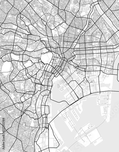 Obraz na plátně Vector city map of Tokyo in black and white