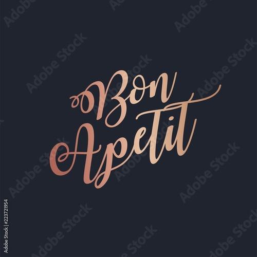 Fényképezés Bon Apetit rose gold lettering vector