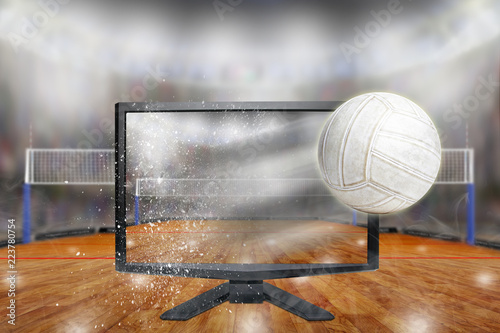 Volleyball Flying Out of TV Screen in Arena