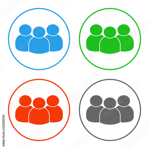 Photo Group of people. Multiplayer symbol. Vector icon.