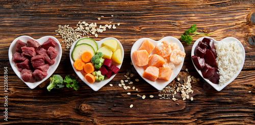 Panorama of healthy fresh ingredients for pet food Fototapete
