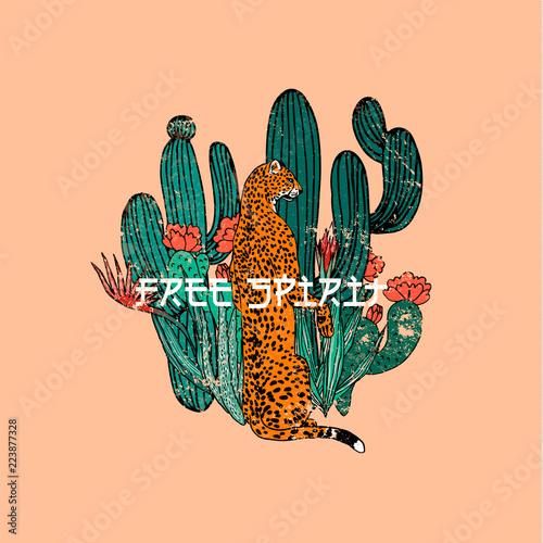 Fototapeta premium Hasło Free Spirit.Leopard z kaktusem. Druk graficzny typografii, rysunek mody na t-shirty. Wektor naklejek, nadruk, łaty vintage