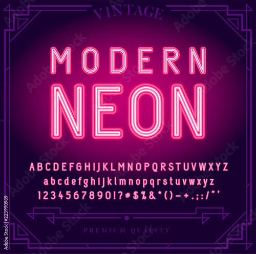Fotografija Bright Neon Alphabet Letters, Numbers and Symbols Sign in Vector