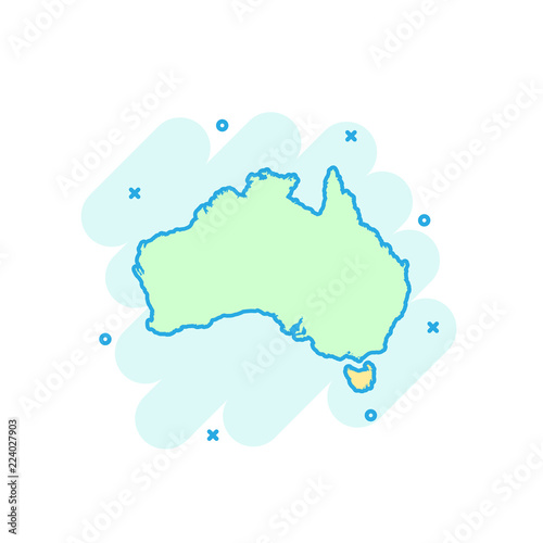 Canvas Print Cartoon colored Australia map icon in comic style