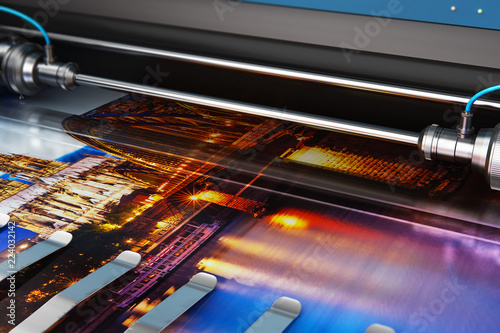 Printing photo banner on large format color plotter