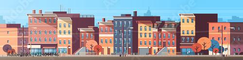 Obraz na płótnie city building houses view skyline background real estate cute town concept horiz