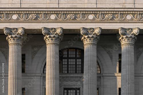Fotografie, Obraz Closeup of four pillars of the New York State Education Department building