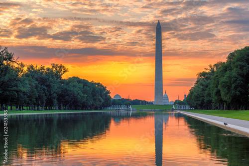 Washington Monument Sunrise from Lincoln Memorial, Washington, DC.
