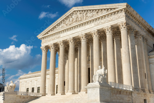 The front facade of the United States Supreme Court in Washington, DC, USA.