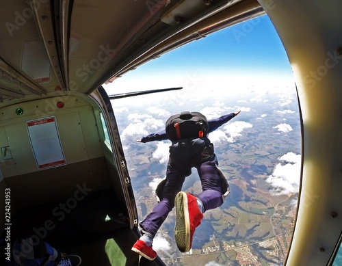 Skydiver jump out of plane