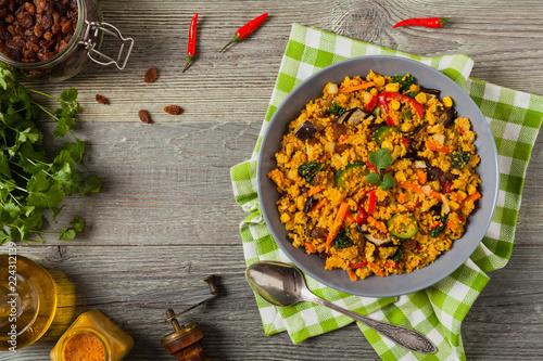 Couscous oriental. Vegetarian dish.