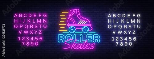 Obraz na plátně Roller Skates Neon Sign Vector