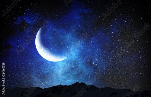Vászonkép Romantic moon in sky