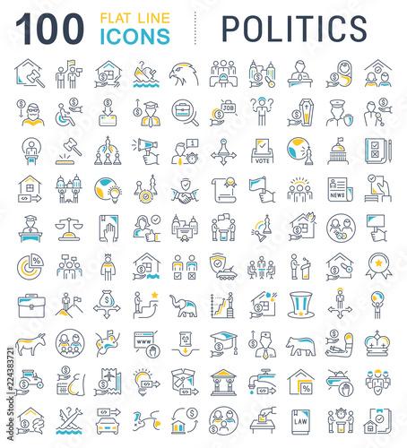 Fotografia Set Vector Line Icons of Politics.