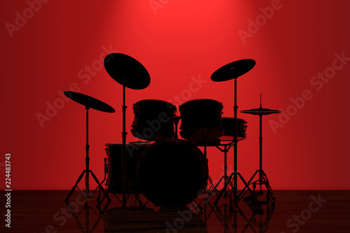 Fényképezés Professional Rock Drum Kit with Red Backlight in front of Wall