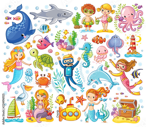 Fototapeta premium Vector set on a sea theme in a children's style. Sea animals.