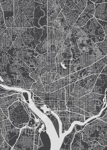 Fototapeta City map Washington, monochrome detailed plan, vector illustration