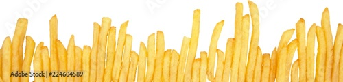 Photo French Fries One Beside The Other Close-up - Isolated