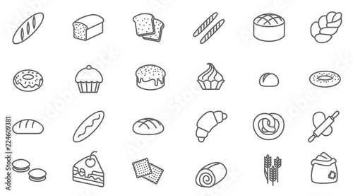 Fotografia bakery vector icon set