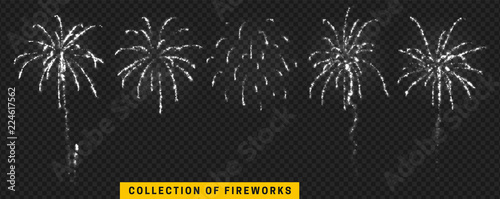 Obraz na płótnie Set festive fireworks isolated on transparent background.