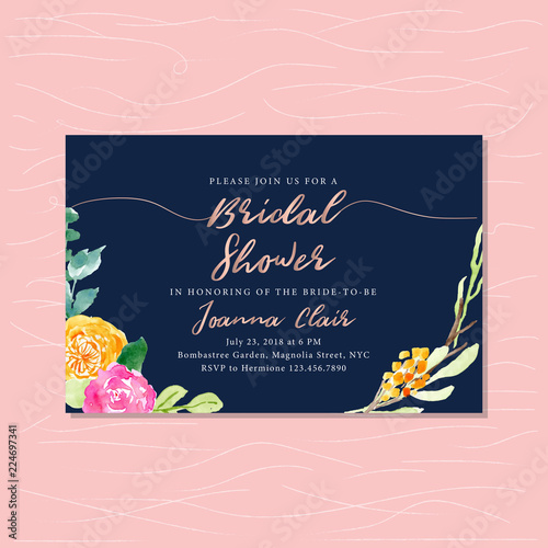 Fotografija bridal shower with rose gold text and floral watercolor