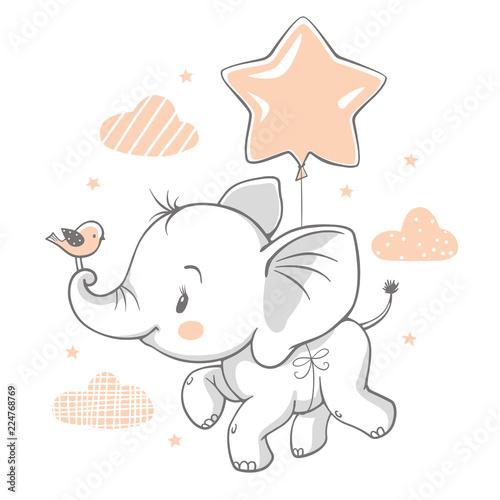 Fototapeta premium Ilustracja wektorowa słoniątka ładny latający z balonem.