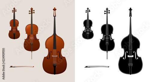 Fotografija Violin, cello (violoncello) and double bass