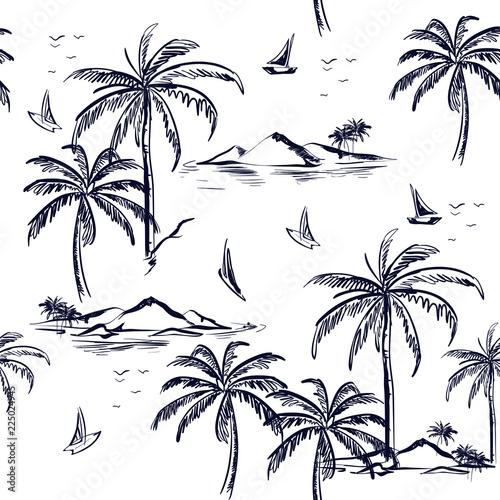 Beautiful seamless island pattern on white background Fototapeta