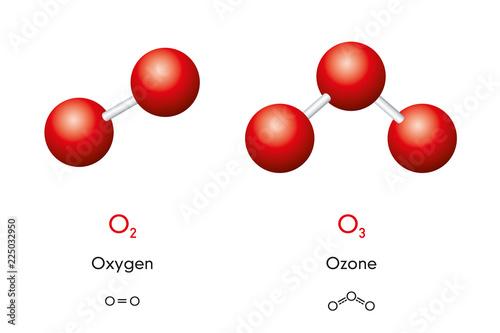 Carta da parati Oxygen O2 and ozone O3 molecule models and chemical formulas