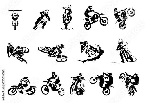 Canvas Print Extreme motorbike big vector set 14x, motocross