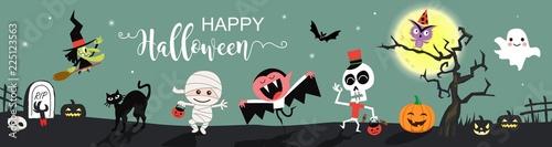 Fotografiet Happy Halloween greetings template vector. Vector illustration.