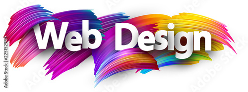 Web design paper poster with colorful brush strokes.